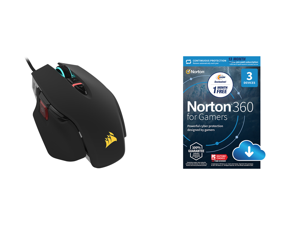 Corsair M65 RGB ELITE Tunable FPS Gaming Mouse Black Backlit RGB LED 18000 dpi Optical and NortonLifeLock Norton 360 for Gamers - Multi-layered protection for PCs - Includes Game Optimizer Gamer tag monitoring Secure VPN and PC Cloud Backup