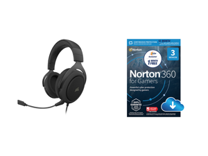 Corsair HS60 PRO SURROUND Circumaural Gaming Headset Carbon and NortonLifeLock Norton 360 for Gamers - Multi-layered protection for PCs - Includes Game Optimizer Gamer tag monitoring Secure VPN and PC Cloud Backup - 13 Months [Download]
