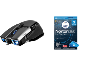 EVGA X17 Gaming Mouse Wired Grey Customizable 16000 DPI 5 Profiles 10 Buttons Ergonomic 903-W1-17GR-KR and NortonLifeLock Norton 360 for Gamers - Multi-layered protection for PCs - Includes Game Optimizer Gamer tag monitoring Secure VPN and