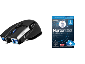 EVGA X17 Gaming Mouse Wired Black Customizable 16000 DPI 5 Profiles 10 Buttons Ergonomic 903-W1-17BK-KR and NortonLifeLock Norton 360 for Gamers - Multi-layered protection for PCs - Includes Game Optimizer Gamer tag monitoring Secure VPN an