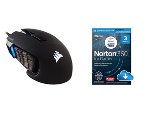 Corsair SCIMITAR RGB ELITE CH-9304211-NA Black Wired Optical MOBA/MMO Gaming Mouse Backlit RGB LED and NortonLifeLock Norton 360 for Gamers - Multi-layered protection for PCs - Includes Game Optimizer Gamer tag monitoring Secure VPN and PC