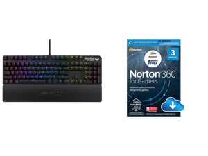 ASUS TUF Gaming K3 RGB Mechanical Keyboard and NortonLifeLock Norton 360 for Gamers - Multi-layered protection for PCs - Includes Game Optimizer Gamer tag monitoring Secure VPN and PC Cloud Backup - 13 Months [Download]