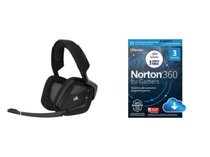 Corsair VOID RGB ELITE Wireless Circumaural Premium Gaming Headset with 7.1 Surround Sound Carbon and NortonLifeLock Norton 360 for Gamers - Multi-layered protection for PCs - Includes Game Optimizer Gamer tag monitoring Secure VPN and PC C
