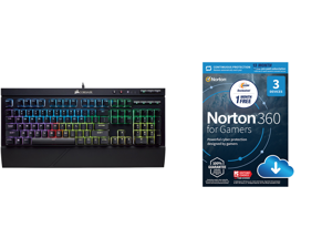 CORSAIR K68 RGB Mechanical Gaming Keyboard Backlit RGB LED Cherry MX Red Dust and Spill Resistant and NortonLifeLock Norton 360 for Gamers - Multi-layered protection for PCs - Includes Game Optimizer Gamer tag monitoring Secure VPN and PC C
