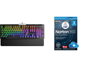 EVGA Z15 RGB Gaming Keyboard RGB Backlit LED Hot Swappable Mechanical Kailh Speed Silver Switches 821-W1-15US-KR (Linear) and NortonLifeLock Norton 360 for Gamers - Multi-layered protection for PCs - Includes Game Optimizer Gamer tag monito