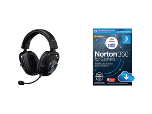Logitech G Pro X Gaming Headset and NortonLifeLock Norton 360 for Gamers - Multi-layered protection for PCs - Includes Game Optimizer Gamer tag monitoring Secure VPN and PC Cloud Backup - 13 Months [Download]
