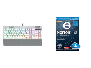 Corsair K70 RGB MK.2 SE Cherry MX Speed Mechanical Gaming Keyboard with RGB LED Backlit and White PBT Keycaps - CH-9109114-NA and NortonLifeLock Norton 360 for Gamers - Multi-layered protection for PCs - Includes Game Optimizer Gamer tag mo