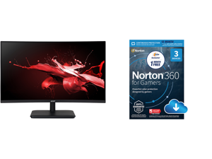 """Acer Nitro ED270 Xbmiipx 27"""" 1ms Full HD 1920 x 1080 240Hz Adaptive-Sync HDMI DisplayPort Built-in Speakers Curved Gaming Monitor and NortonLifeLock Norton 360 for Gamers - Multi-layered protection for PCs - Includes Game Optimizer Gamer ta"""