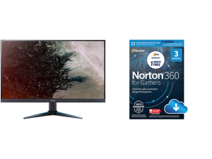 """Acer Nitro VG270U Pbmiipx 27"""" QHD 2560 x 1440 2K 144Hz 1ms (VRB) 2xHDMI DisplayPort Built-in Speakers AMD FreeSync LED IPS Gaming Monitor and NortonLifeLock Norton 360 for Gamers - Multi-layered protection for PCs - Includes Game Optimizer"""