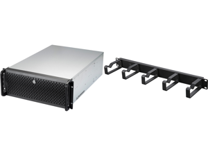 """Rosewill 4U RSV-L4500U Rackmount Server Chassis   Carries up to 15 3.5"""" HDD   Includes 6 front 120mm fans 2 Rear 80mm fans   USB 3.0 USB 2.0   Front Panel Lock and Key and Rosewill 1U Cable Manager with 5 Metal Rings RSA-1UCA002"""