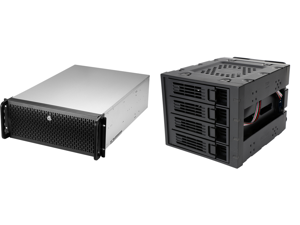 """Rosewill 4U RSV-L4000U Rackmount Server Chassis   Carries up to 8 3.5"""" HDD   Includes 5 x 120mm fans 2 x 80mm fans   USB 3.0 USB 2.0   Front Panel Lock and Key and Rosewill RSV-SATA-Cage-34 - Hard Disk Drives - Black 3 x 5.25"""" to 4 x 3.5"""" H"""