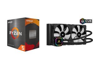 AMD Ryzen 5 5600X 3.7 GHz Socket AM4 100-100000065BOX Desktop Processor and CORSAIR iCUE H115i RGB PRO XT 280mm Radiator Dual 140mm PWM Fans Software Control Liquid CPU Cooler CW-9060044-WW
