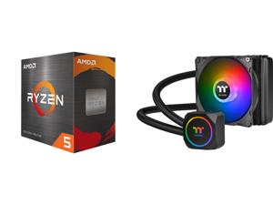 AMD Ryzen 5 5600X 3.7 GHz Socket AM4 100-100000065BOX Desktop Processor and Thermaltake TH120 ARGB Motherboard Sync Edition Intel/AMD All-in-One Liquid Cooling System 120mm High Efficiency Radiator CPU Cooler CL-W285-PL12SW-A