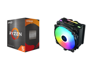AMD Ryzen 5 5600X 3.7 GHz Socket AM4 100-100000065BOX Desktop Processor and Enermax ETS-F40 Addressable RGB CPU Air Cooler 200W+ TDP for Intel/AMD Universal Socket 4 Direct Contact Heat Pipes 140mm Silent PWM Fan - Black