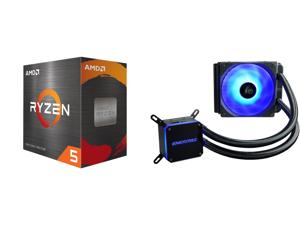 AMD Ryzen 5 5600X 3.7 GHz Socket AM4 100-100000065BOX Desktop Processor and Enermax LIQMAX III RGB 120 All-in-one CPU Liquid Cooler for AM4 / LGA1200 120mm Radiator Dual-Chamber Water Block RGB Fan