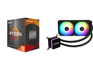 AMD Ryzen 5 5600X 3.7 GHz Socket AM4 100-100000065BOX Desktop Processor and Enermax LIQMAX III ARGB 240 Addressable RGB All-in-one CPU Liquid Cooler for AM4 / LGA1200 240mm Radiator Dual-Chamber Water Block ARGB Fan 5 Year Warranty