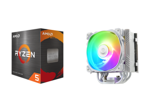 AMD Ryzen 5 5600X 3.7 GHz Socket AM4 100-100000065BOX Desktop Processor and Enermax ETS-T50 Axe Addressable RGB CPU Air Cooler 230W+ TDP for Intel/AMD Univeral Socket 5 Direct Contact Heat Pipes 120mm PWM Fan White: ETS-T50A-W-ARGB