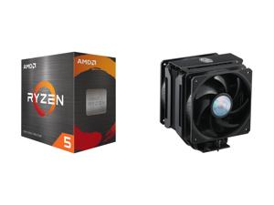 AMD Ryzen 5 5600X 3.7 GHz Socket AM4 100-100000065BOX Desktop Processor and Cooler Master MasterAir MA612 Stealth CPU Air Cooler 6 Heat Pipes Nickel Plated Base Aluminum Black Fins Push-Pull Dual SickleFlow Fans for AMD Ryzen/Intel 1200/115