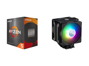 AMD Ryzen 5 5600X 3.7 GHz Socket AM4 100-100000065BOX Desktop Processor and Cooler Master MasterAir MA612 Stealth ARGB CPU Air Cooler 6 Heat Pipes Nickel Plated Base Aluminum Black Fins Push-Pull Dual SickleFlow Fans for AMD Ryzen/Intel 120