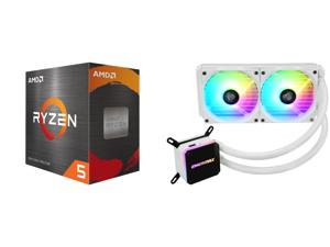 AMD Ryzen 5 5600X 3.7 GHz Socket AM4 100-100000065BOX Desktop Processor and Enermax LIQMAX III ARGB 240 for AM4 / LGA1200 240mm Radiator Dual-Chamber Water Block Addressable RGB All-in-one CPU White Liquid Cooler