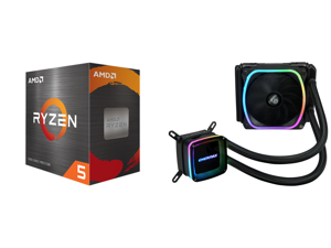 AMD Ryzen 5 5600X 3.7 GHz Socket AM4 100-100000065BOX Desktop Processor and Enermax AQUAFUSION 120 Addressable RGB All-in-one CPU Liquid Cooler for AM4 / LGA1200 120mm Radiator Dual-Chamber Water Block SquA RGB Fan 5 Year Warranty
