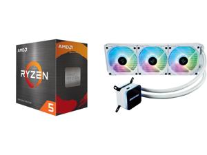 AMD Ryzen 5 5600X 3.7 GHz Socket AM4 100-100000065BOX Desktop Processor and Enermax LIQMAX III ARGB 360 Addressable RGB All-in-one CPU Liquid Cooler for AM4 / LGA1200 360mm Radiator Dual-Chamber Water Block ARGB Fan White 5 Year Warranty