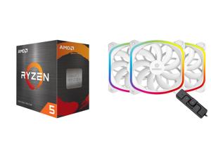 AMD Ryzen 5 5600X 3.7 GHz Socket AM4 100-100000065BOX Desktop Processor and Enermax SquA RGB PWM 120mm Case Fan Addressable RGB Sync Via Motherboard w/ RGB Control Box 3 Fan Pack - White UCSQARGB12P-WP3
