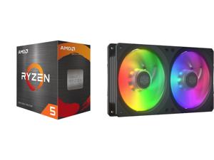 AMD Ryzen 5 5600X 3.7 GHz Socket AM4 100-100000065BOX Desktop Processor and COOLERMASTER MFX-B2D2-18NPA-R1 MasterFan SF240R ARGB Fan