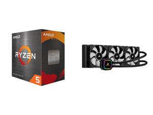 AMD Ryzen 5 5600X 3.7 GHz Socket AM4 100-100000065BOX Desktop Processor and CORSAIR iCUE H150i RGB PRO XT 360mm Radiator Triple 120mm PWM Fans Advanced RGB Lighting and Fan Control with Software Liquid CPU Cooler
