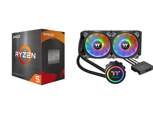 AMD Ryzen 5 5600X 3.7 GHz Socket AM4 100-100000065BOX Desktop Processor and Thermaltake Floe DX 240 Dual Riing Duo 16.8 Million Colors RGB 36 LED LGA2066 AM4 Ready Intel/AMD Liquid Cooling All-in-One CPU Cooler CL-W255-PL12SW-B