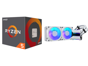 AMD RYZEN 5 2600 6-Core 3.4 GHz (3.9 GHz Max Boost) Socket AM4 65W YD2600BBAFBOX Desktop Processor and Phanteks Glacier One 240MPH D-RGB AIO Liquid CPU Cooler Infinity Mirror Pump Cap Design 2x Silent 120mm MP PWM Fans 2x D-RGB Halos Fan Fr