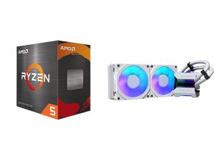 AMD Ryzen 5 5600X 3.7 GHz Socket AM4 100-100000065BOX Desktop Processor and Phanteks Glacier One 240MPH D-RGB AIO Liquid CPU Cooler Infinity Mirror Pump Cap Design 2x Silent 120mm MP PWM Fans 2x D-RGB Halos Fan Frames White