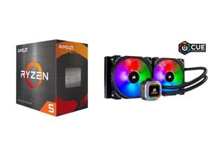 AMD Ryzen 5 5600X 3.7 GHz Socket AM4 100-100000065BOX Desktop Processor and CORSAIR Hydro Series H115i RGB PLATINUM 280mm 2 x ML PRO 140mm RGB PWM Fans RGB Lighting Fan Control w/ Software Liquid CPU Cooler. CW-9060038-WW. Support: Intel 12