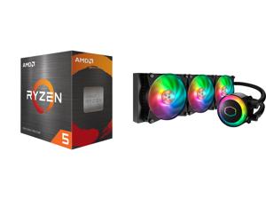AMD Ryzen 5 5600X 3.7 GHz Socket AM4 100-100000065BOX Desktop Processor and Cooler Master MasterLiquid ML360R ARGB Close-Loop AIO CPU Liquid Cooler 360 Radiator Dual Chamber Pump Addressable RGB Lighting Dual MF120R Fans for AMD Ryzen/Intel