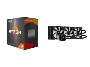 AMD Ryzen 9 5950X 3.4 GHz Socket AM4 100-100000059WOF Desktop Processor and CORSAIR iCUE H150i RGB PRO XT 360mm Radiator Triple 120mm PWM Fans Advanced RGB Lighting and Fan Control with Software Liquid CPU Cooler