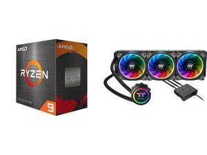 AMD Ryzen 9 5950X 3.4 GHz Socket AM4 100-100000059WOF Desktop Processor and Thermaltake Floe AIO Triple Riing RGB 360 TT Premium Edition PWM AM4 LGA2066 Ready Liquid Cooling System CL-W158-PL12SW-A