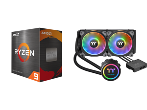 AMD Ryzen 9 5950X 3.4 GHz Socket AM4 100-100000059WOF Desktop Processor and Thermaltake Floe DX 240 Dual Riing Duo 16.8 Million Colors RGB 36 LED LGA2066 AM4 Ready Intel/AMD Liquid Cooling All-in-One CPU Cooler CL-W255-PL12SW-B