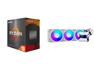 AMD Ryzen 9 5950X 3.4 GHz Socket AM4 100-100000059WOF Desktop Processor and Phanteks Glacier One 360MPH D-RGB AIO Liquid CPU Cooler Infinity Mirror Pump Cap Design 3x Silent 120mm MP PWM Fans 3x D-RGB Halos Fan Frames White