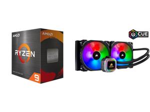 AMD Ryzen 9 5950X 3.4 GHz Socket AM4 100-100000059WOF Desktop Processor and CORSAIR Hydro Series H115i RGB PLATINUM 280mm 2 x ML PRO 140mm RGB PWM Fans RGB Lighting Fan Control w/ Software Liquid CPU Cooler. CW-9060038-WW. Support: Intel 12