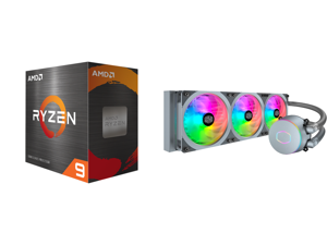 AMD Ryzen 9 5950X 3.4 GHz Socket AM4 100-100000059WOF Desktop Processor and Cooler Master MasterLiquid ML360P Silver Edition ARGB Close-Loop AIO CPU Liquid Cooler 360 Radiator SF360R Fan Addressable RGB Lighting for AMD Ryzen Threadripper/I