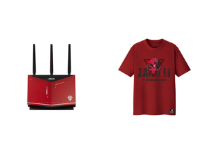 ASUS RT-AX86U AX5700 Dual Band + WiFi 6 Gaming Router ZAKU II EDITION 802.11ax up to 2500 sq ft 35+ Devices NVIDIA GeForce Now Lifetime Free Internet Security Mesh WiFi Support 2.5G port and ASUS ROG T-Shirt ZAKU II EDITION Limited Edition