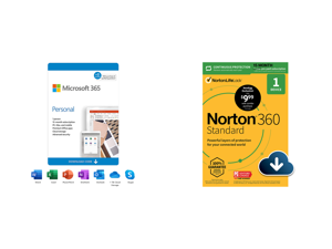 Microsoft 365 Personal | 15-Month Subscription 1 person | Premium Office apps | 1TB OneDrive cloud storage | PC/Mac Download and Norton 360 Standard - Antivirus Software for 1 Devices with Auto Renewal - 15 Month Subscription - 3 Months FRE