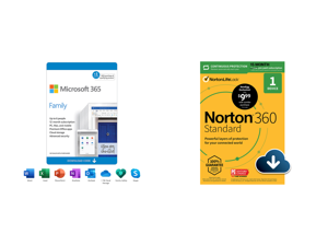 Microsoft 365 Family | 15-Month Subscription up to 6 people | Premium Office apps | 1TB OneDrive cloud storage | PC/Mac Download and Norton 360 Standard - Antivirus Software for 1 Devices with Auto Renewal - 15 Month Subscription - 3 Months