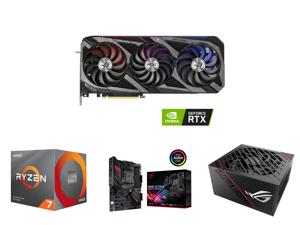 ASUS ROG Strix GeForce RTX 3070 Ti 8GB GDDR6X PCI Express 4.0 x16 Video Card ROG-STRIX-RTX3070TI-O8G-GAMING and AMD RYZEN 7 3700X 8-Core 3.6 GHz (4.4 GHz Max Boost) Socket AM4 65W 100-100000071BOX Desktop Processor and ASUS ROG Strix B550-F