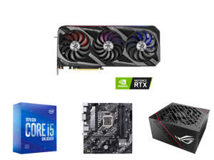 ASUS ROG Strix GeForce RTX 3070 Ti 8GB GDDR6X PCI Express 4.0 x16 Video Card ROG-STRIX-RTX3070TI-O8G-GAMING and Intel Core i5-10600KF Comet Lake 6-Core 4.1 GHz LGA 1200 125W BX8070110600KF Desktop Processor and ASUS PRIME B460M-A LGA 1200 I
