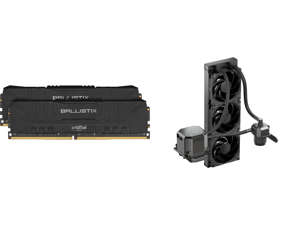 Crucial Ballistix 3200 MHz DDR4 DRAM Desktop Gaming Memory Kit 16GB (8GBx2) CL16 BL2K8G32C16U4B (BLACK) and CoolerMaster MasterLiquid ML360 SUB-ZERO Thermoelectric Cooling (TEC) AIO CPU Liquid Cooler Powered by Intel Cryo Cooling Technology
