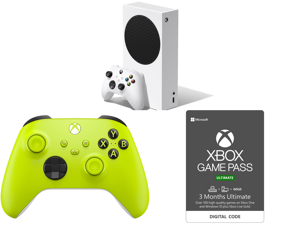 Microsoft Xbox Series S and Xbox Wireless Controller - Electric Volt and Xbox Game Pass Ultimate: 3 Month Membership US [Digital Code]