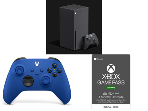 Microsoft Xbox Series X and Xbox Wireless Controller - Shock Blue and Xbox Game Pass Ultimate: 3 Month Membership US [Digital Code]