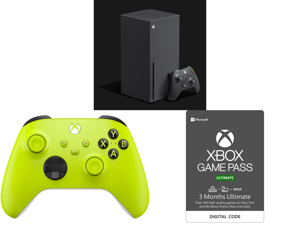 Microsoft Xbox Series X and Xbox Wireless Controller - Electric Volt and Xbox Game Pass Ultimate: 3 Month Membership US [Digital Code]