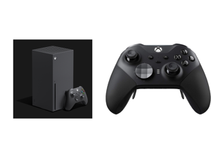 Microsoft Xbox Series X and Xbox Elite Wireless Series 2 Controller Black - Bluetooth Connectivity - Adjustable-tension Thumbsticks - Shorter Hair Trigger Locks - Wrap-around Rubberized Grip - Re-engineered Components